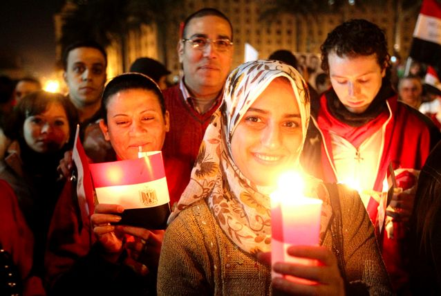 Determination and optimism mingle in Tahrir Square